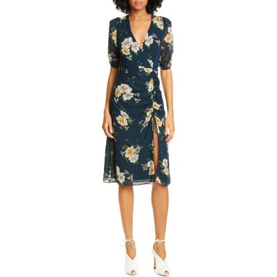 Nicholas Floral Print Silk Tea Dress, Blue