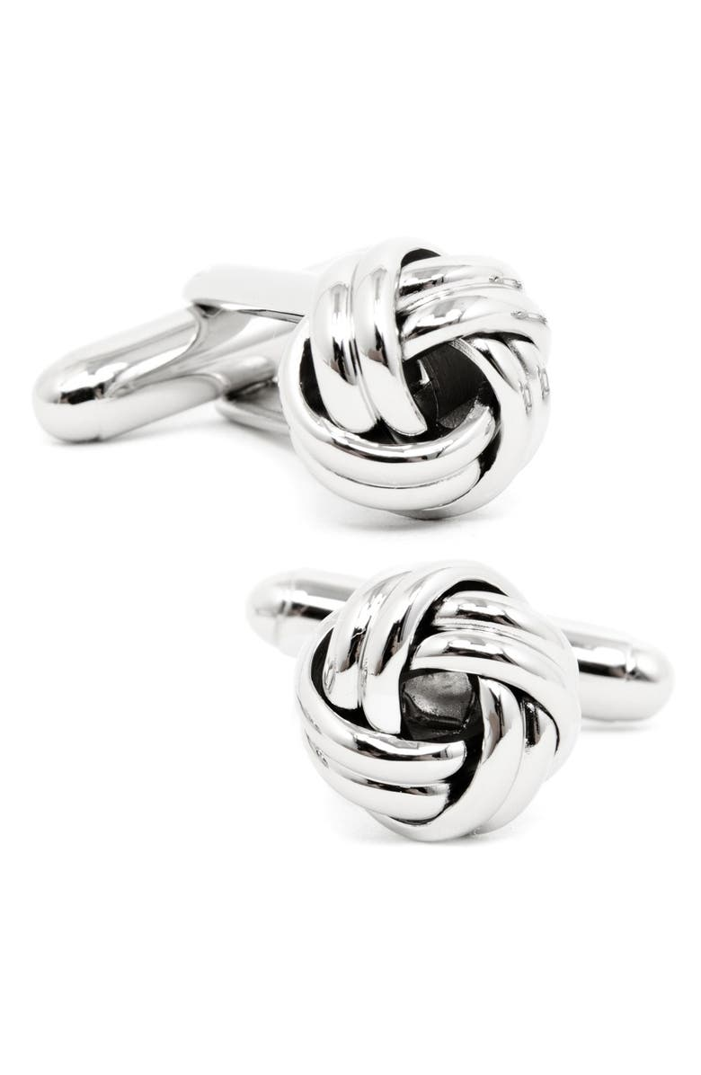 OX AND BULL TRADING CO. Knot Cuff Links, Main, color, SILVER