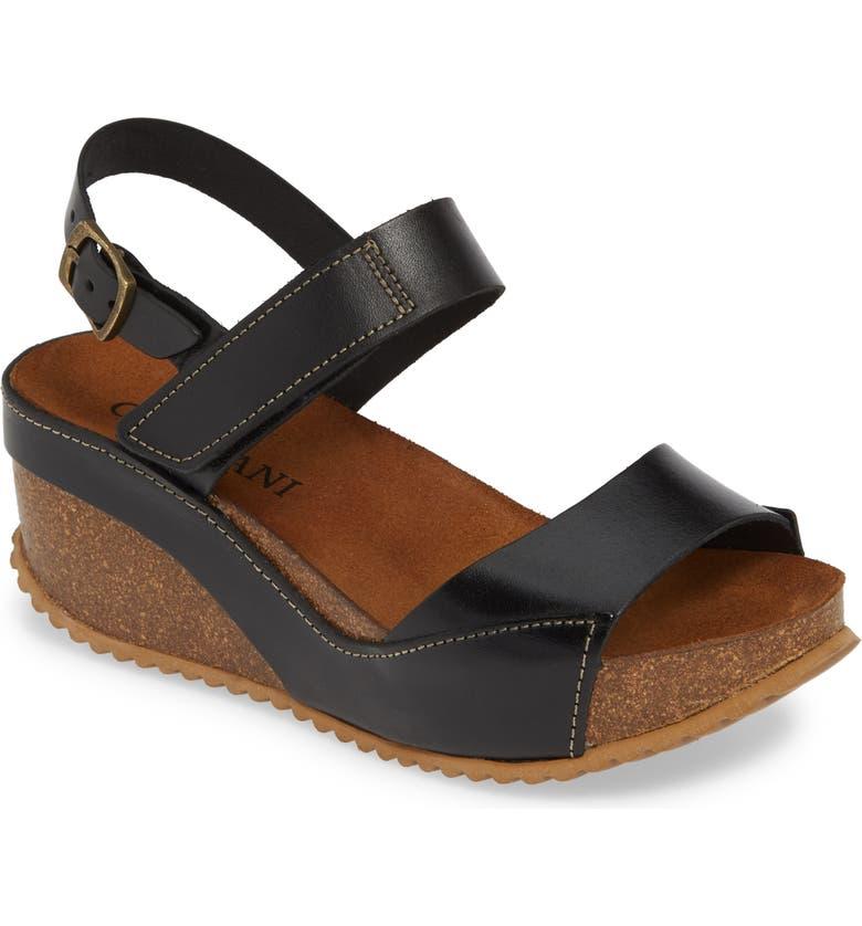 CORDANI Marcelle Wedge Sandal, Main, color, BLACK LEATHER