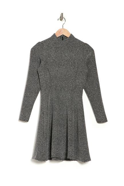 Image of Velvet Torch Mock Neck Long Sleeve Skater Dress
