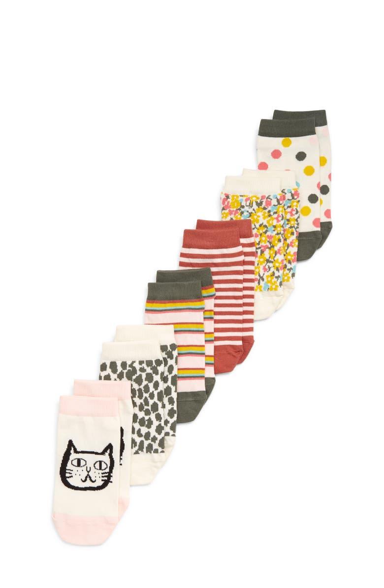TUCKER + TATE Kids' Artsy Kitty 6-Pack Low Cut Socks, Main, color, IVORY EGRET MULTI