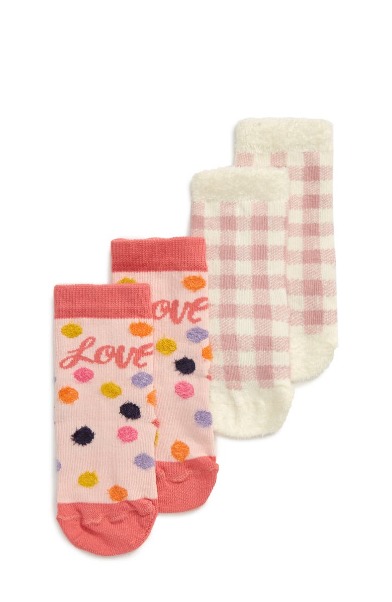 TUCKER + TATE Chamois 2-Pack Crew Socks, Main, color, PINK ENGLISH CONFETTI