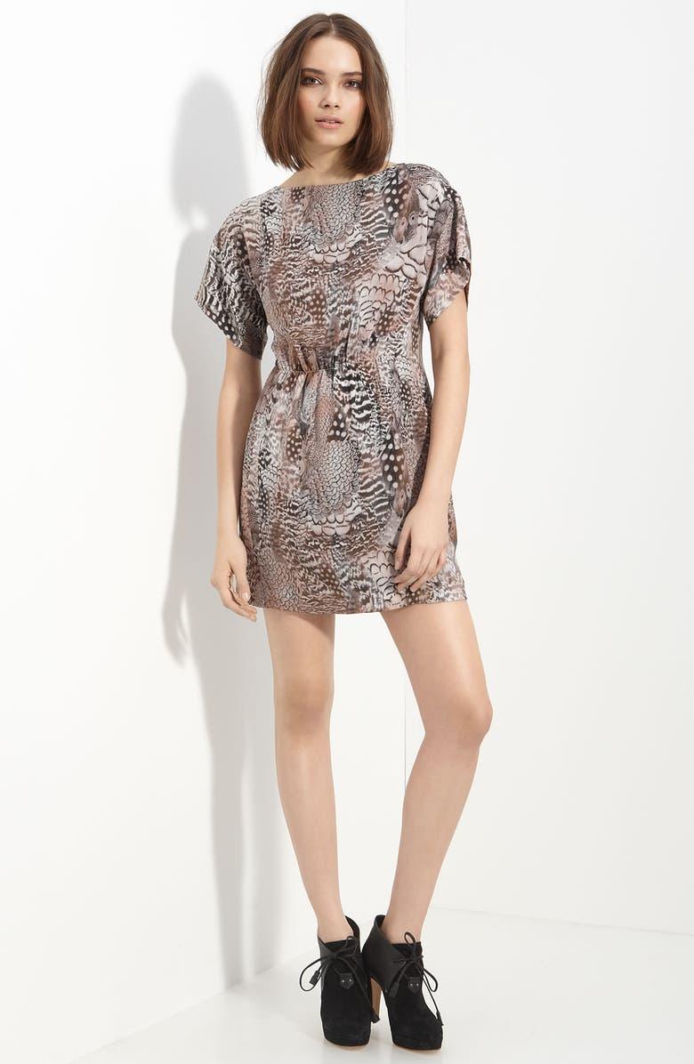 RAG & BONE 'Dalmeny' Feather Print Silk Dress, Main, color, 200