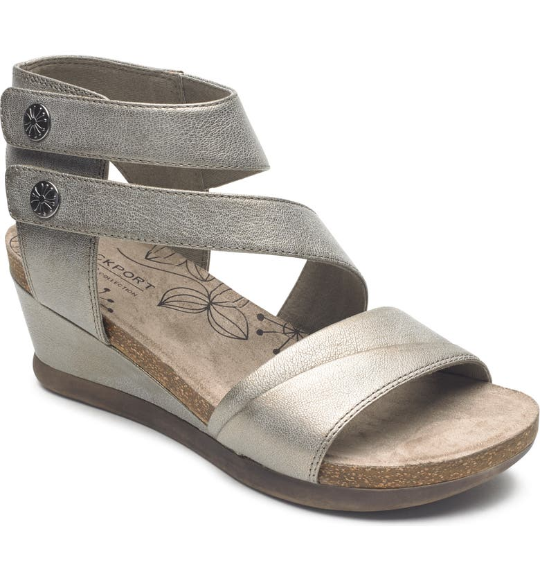 ROCKPORT COBB HILL Shona Wedge Sandal, Main, color, GREY METALLIC LEATHER