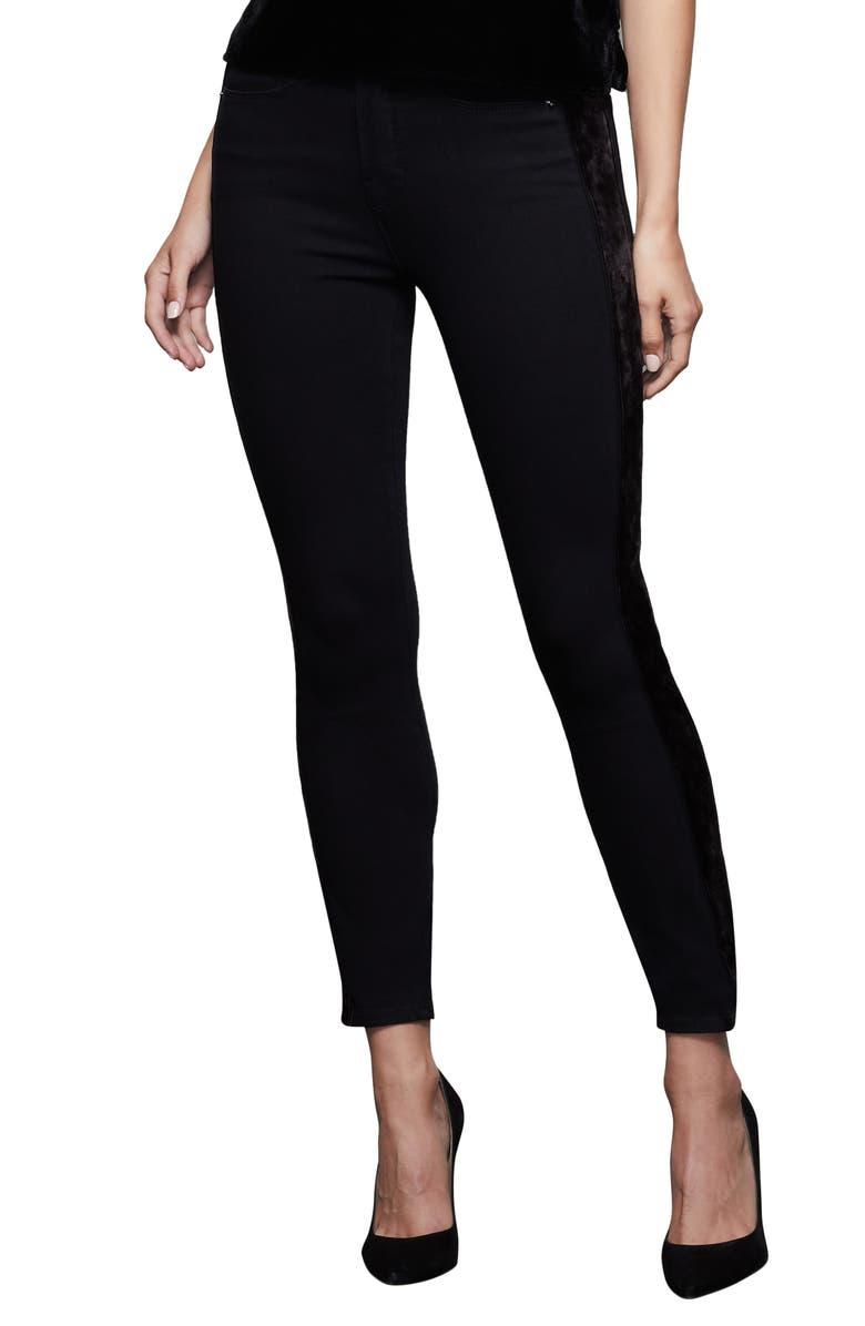GOOD AMERICAN Paneled Velvet Jeans, Main, color, BLACK