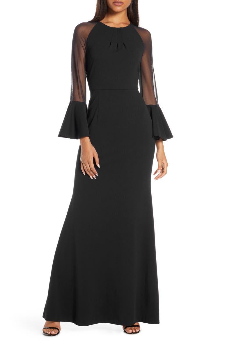 ELIZA J Flounce Long Sleeve Scuba Gown, Main, color, 001
