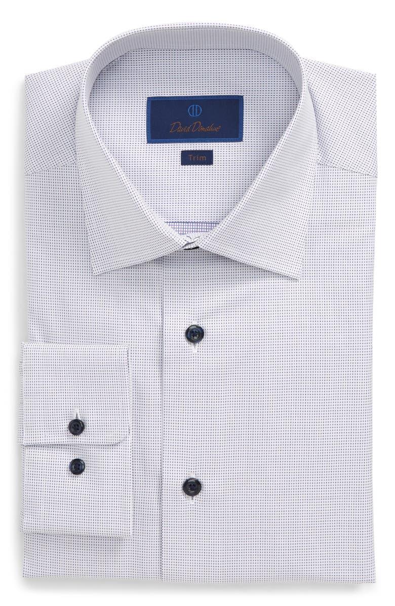 DAVID DONAHUE Trim Fit Dress Shirt, Main, color, WHITE/ PURPLE
