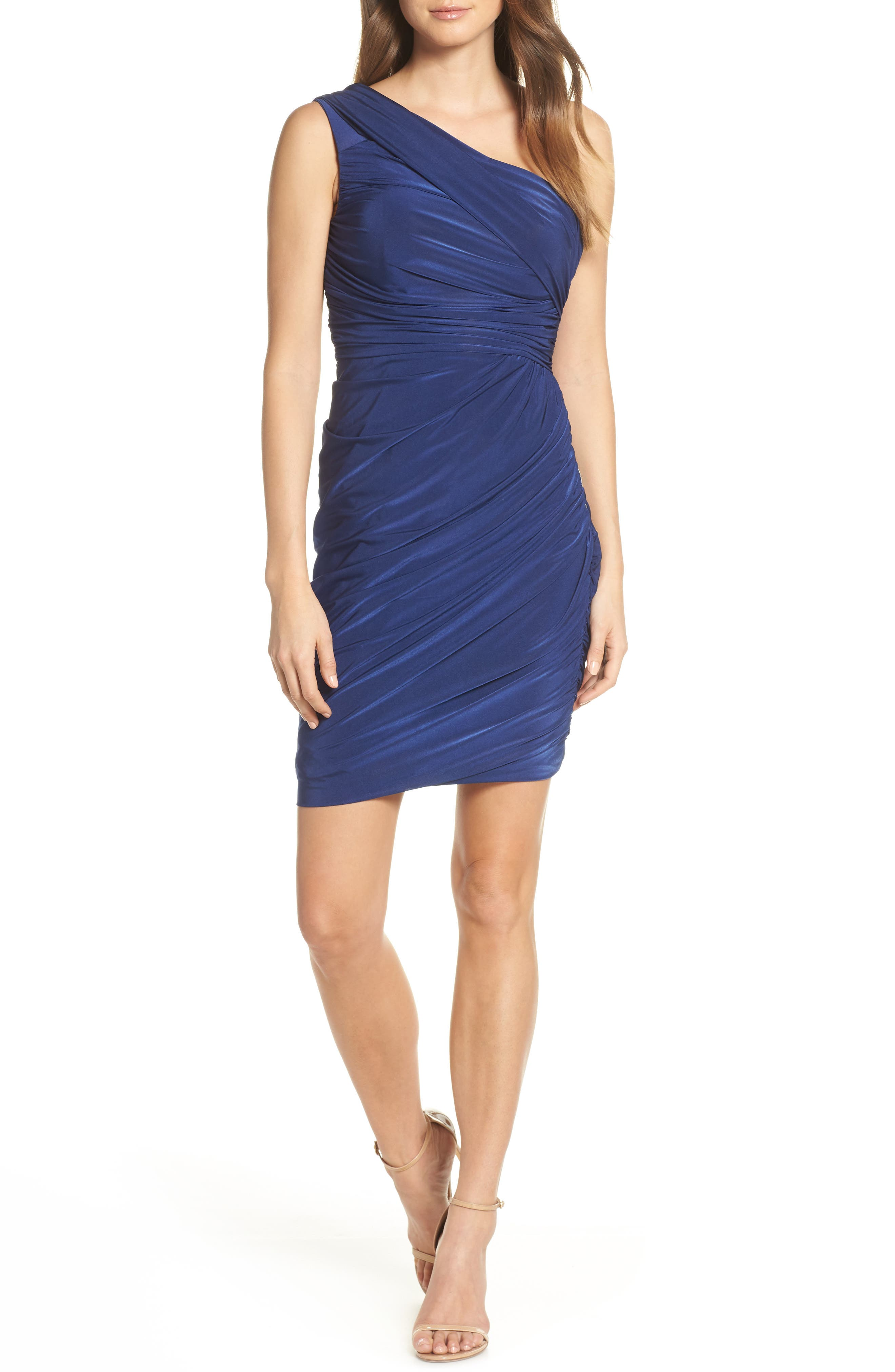 Eliza J Ruched One-Shoulder Dress, Blue