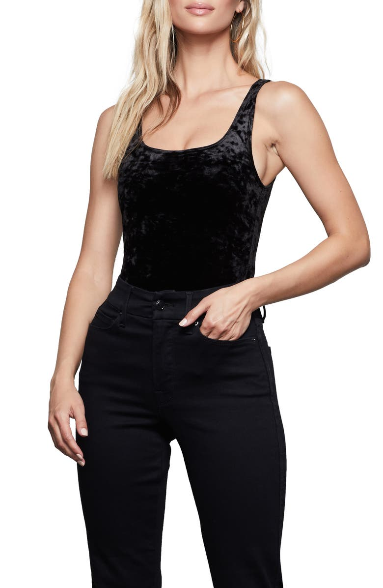 GOOD AMERICAN Velvet Scoop Neck Bodysuit, Main, color, BLACK