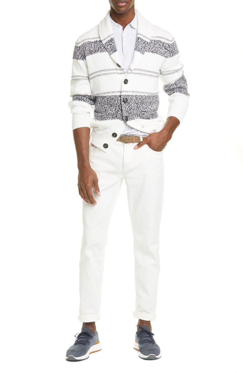 BRUNELLO CUCINELLI Over Dye Stretch Cotton Jeans, Main, color, WHITE