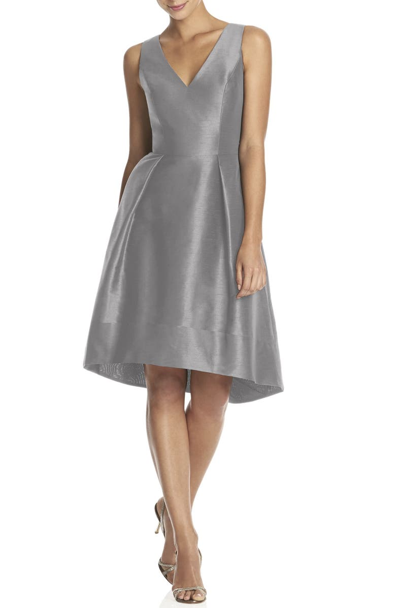 ALFRED SUNG Satin High/Low Fit & Flare Dress, Main, color, 023