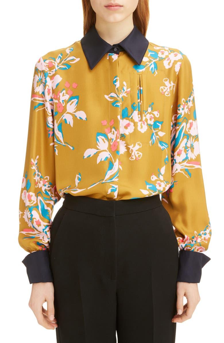ROKSANDA Floral Contrast Cuff Silk Twill Shirt, Main, color, GOLD MUSTARD