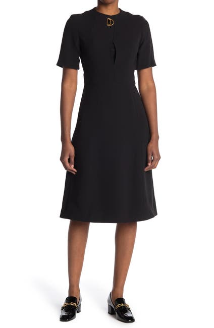 Image of Burberry Buckle Neck Day Dress