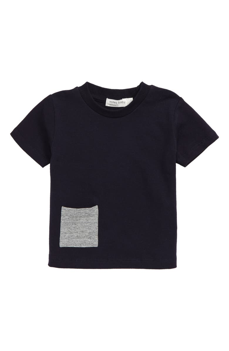 MILES BABY Stretch Organic Cotton T-Shirt, Main, color, NAVY