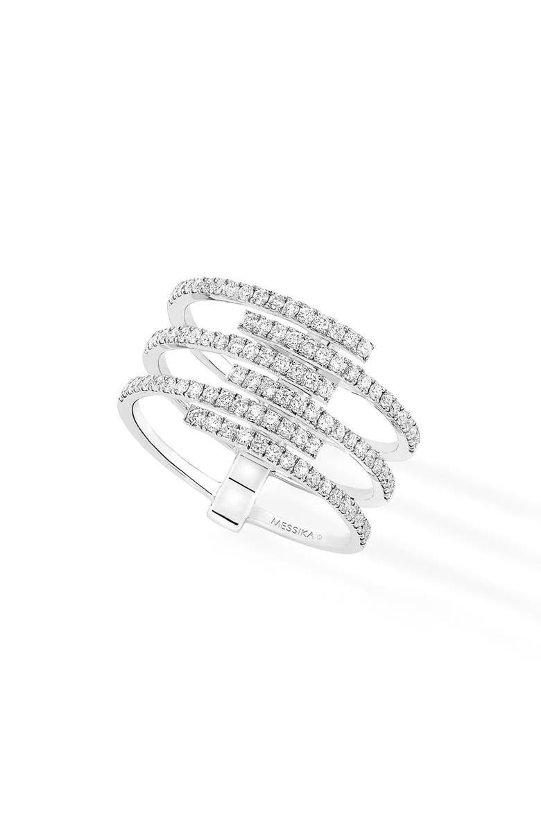 MESSIKA Gatsby Multirow Diamond Ring, Main, color, WHITE GOLD