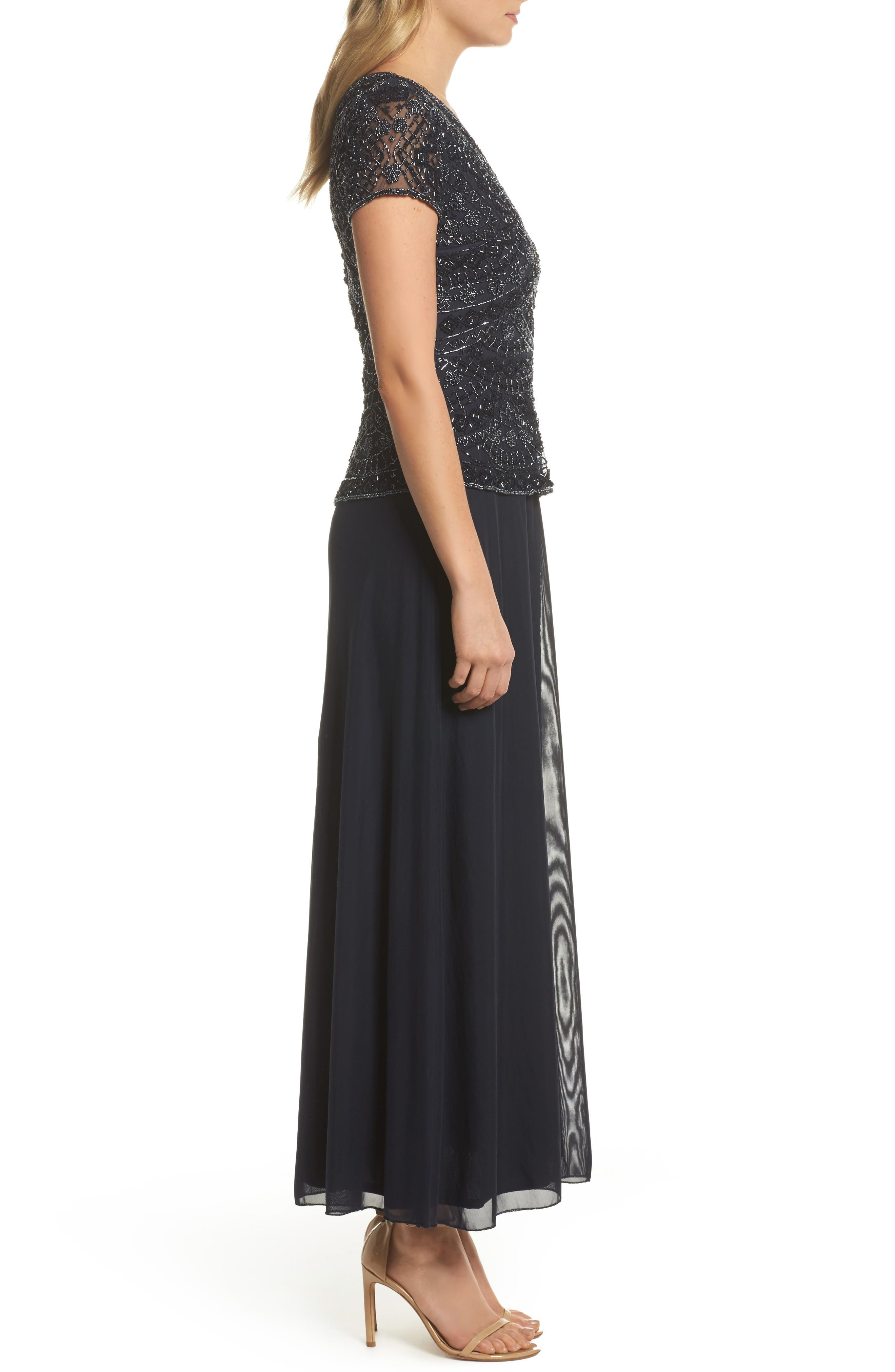 ,                             Beaded V-Neck Mock Two-Piece Gown,                             Alternate thumbnail 4, color,                             NAVY