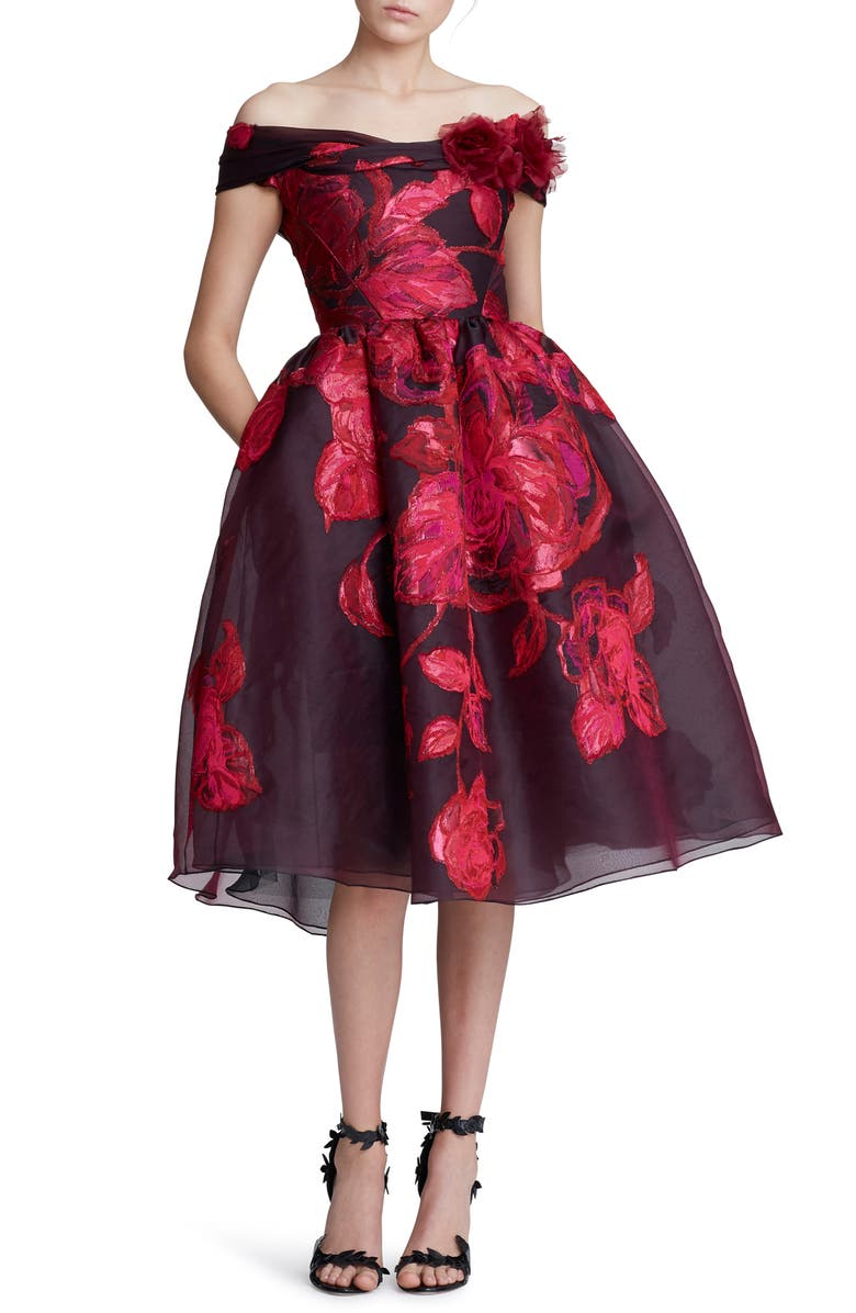 MARCHESA Off the Shoulder Floral Embroidered Cocktail Dress, Main, color, BERRY