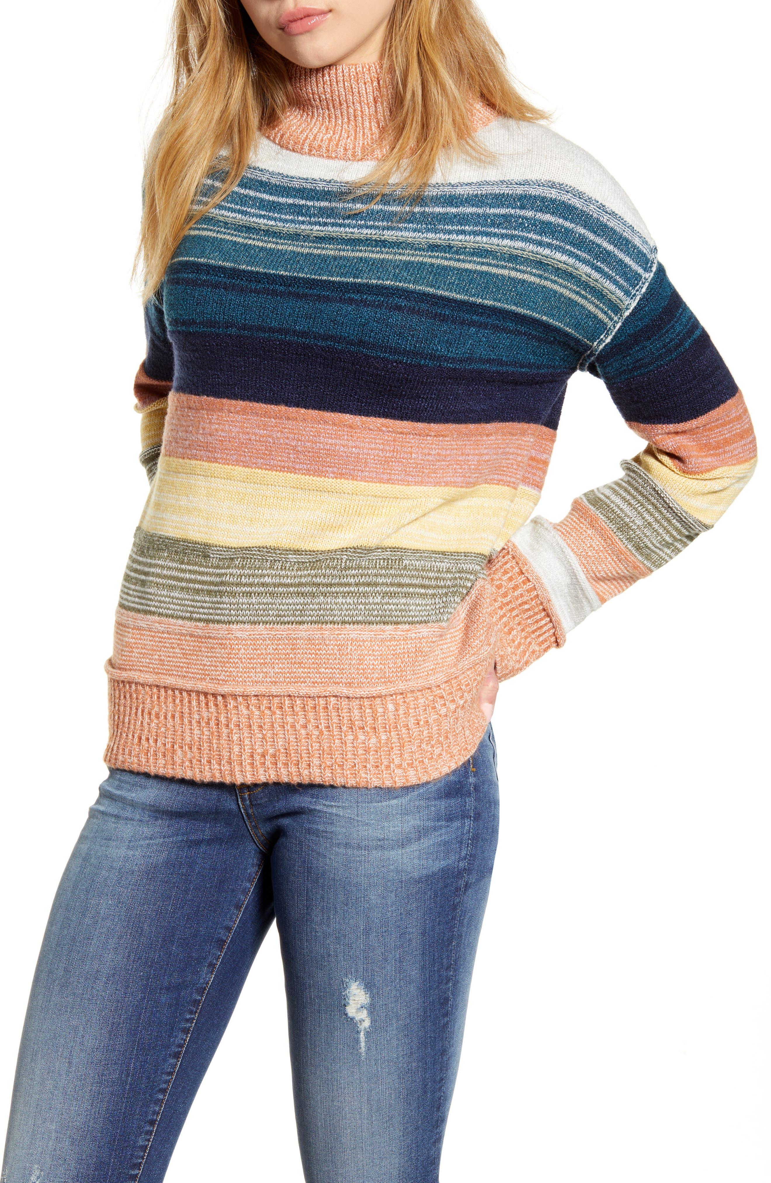 Caslon® Turtleneck Stripe Sweater