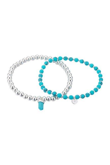 Image of LA Rocks Reconstituted Turquoise Stone Beaded Stretch Bracelet Set
