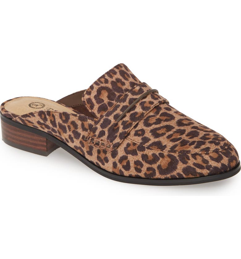 BELLA VITA Binx II Loafer Mule, Main, color, LEOPARD PRINT FAUX LEATHER