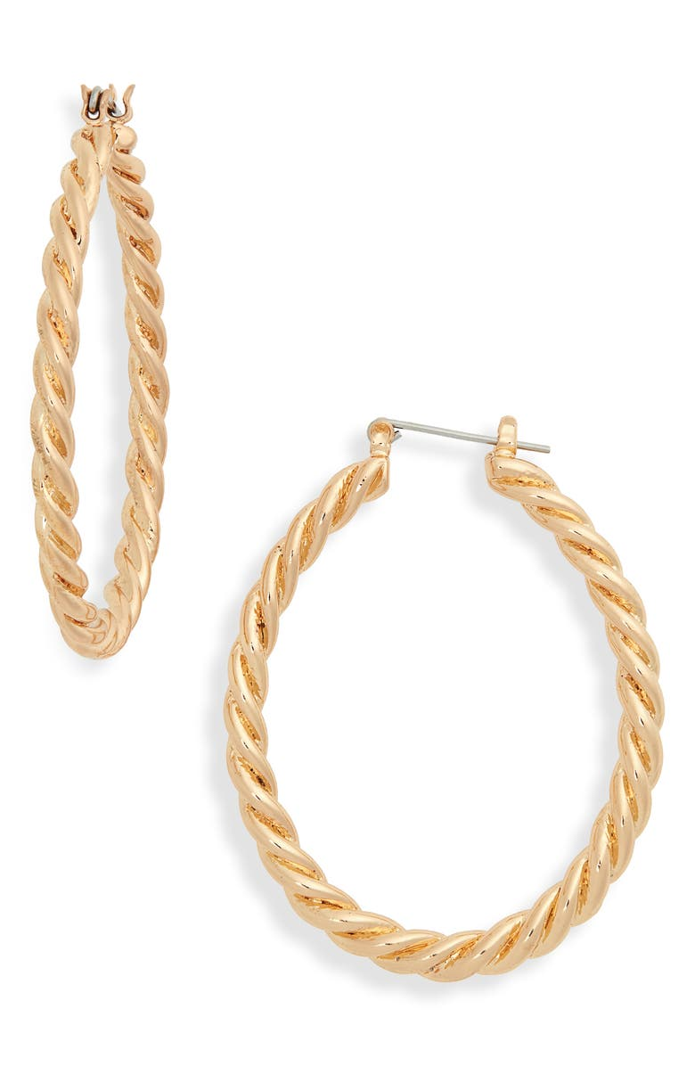 BP Twisted Oval Hoop Earrings