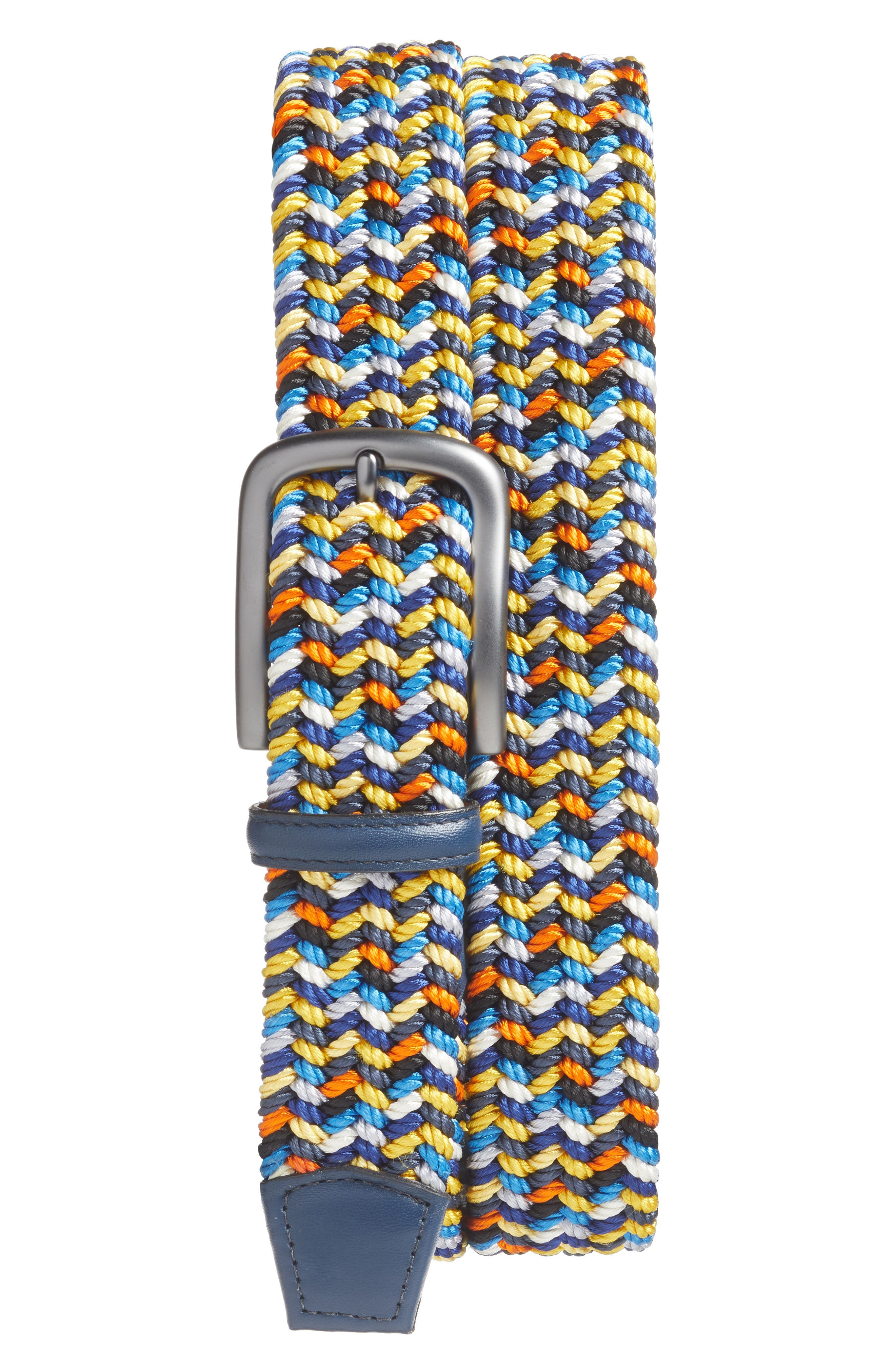 Woven multicolored rayon elevates a charmingly casual belt crafted in America and fitted with a bit of Italian leather trim. Style Name: Torino Woven Belt. Style Number: 5365704. Available in stores.