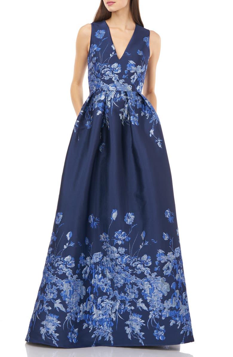 CARMEN MARC VALVO INFUSION Metallic Floral Jacquard V-Neck Ballgown, Main, color, COBALT NAVY