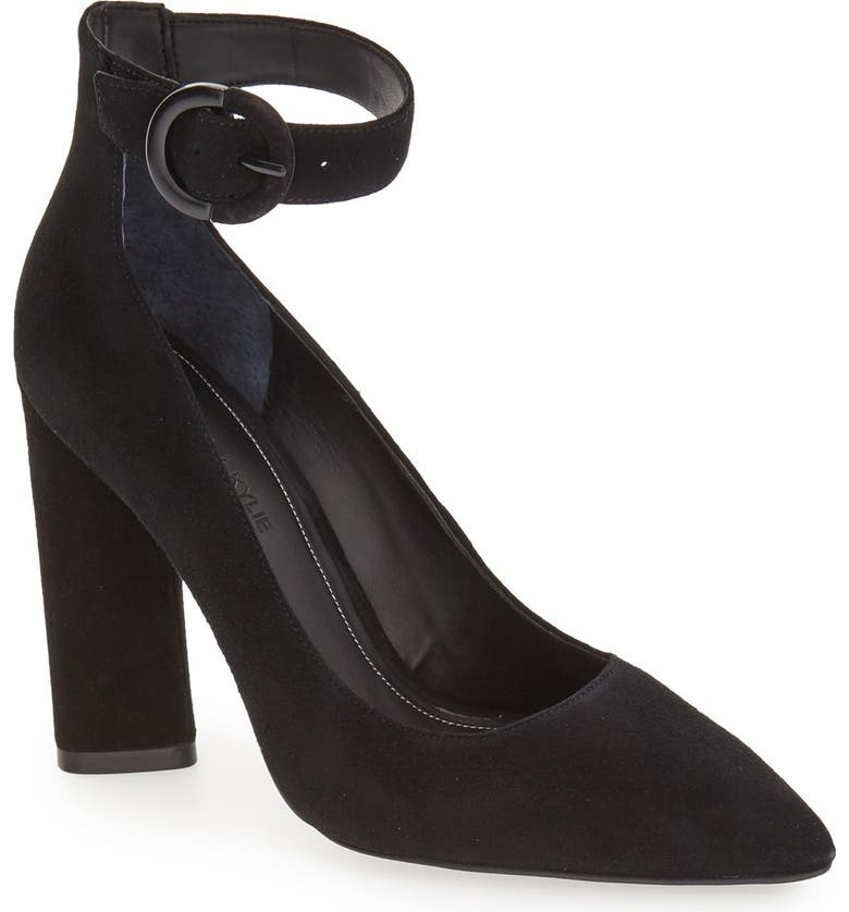 KENDALL + KYLIE 'Gloria' Pointy Toe Ankle Strap Pump, Main, color, 001