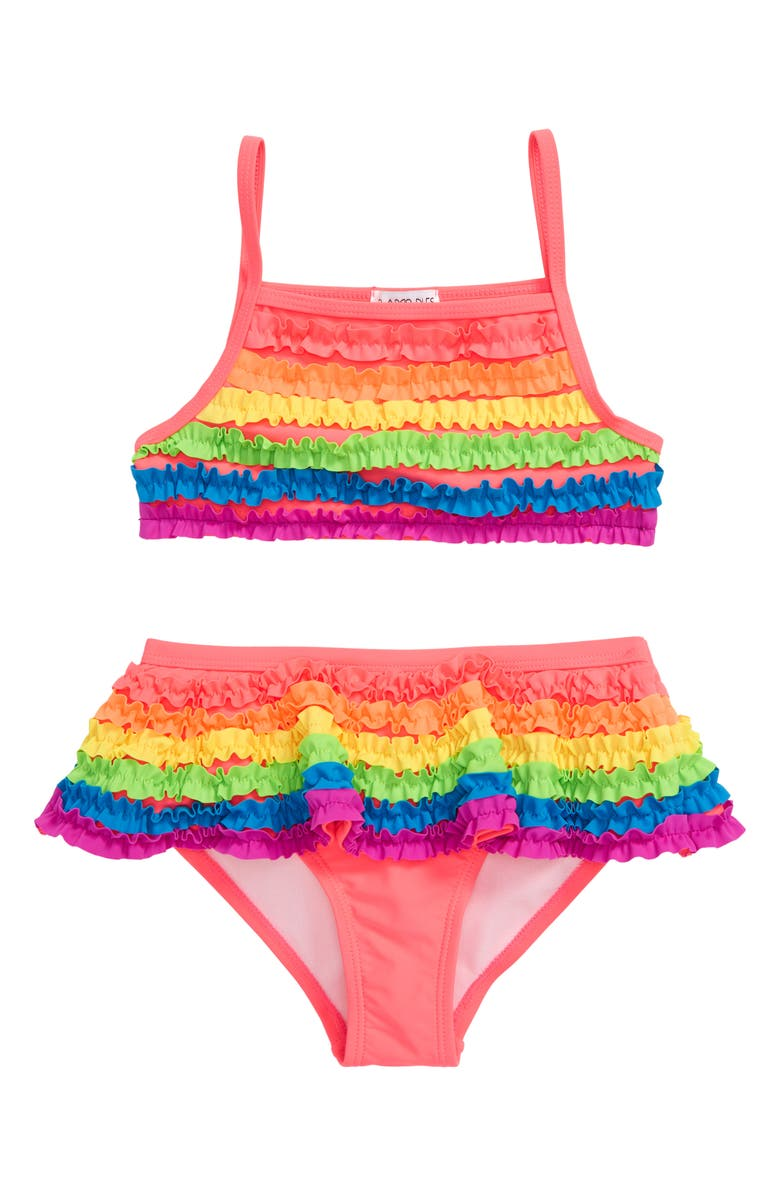 FLAPDOODLES Rainbow Ruffle Two-Piece Swimsuit, Main, color, MULTI