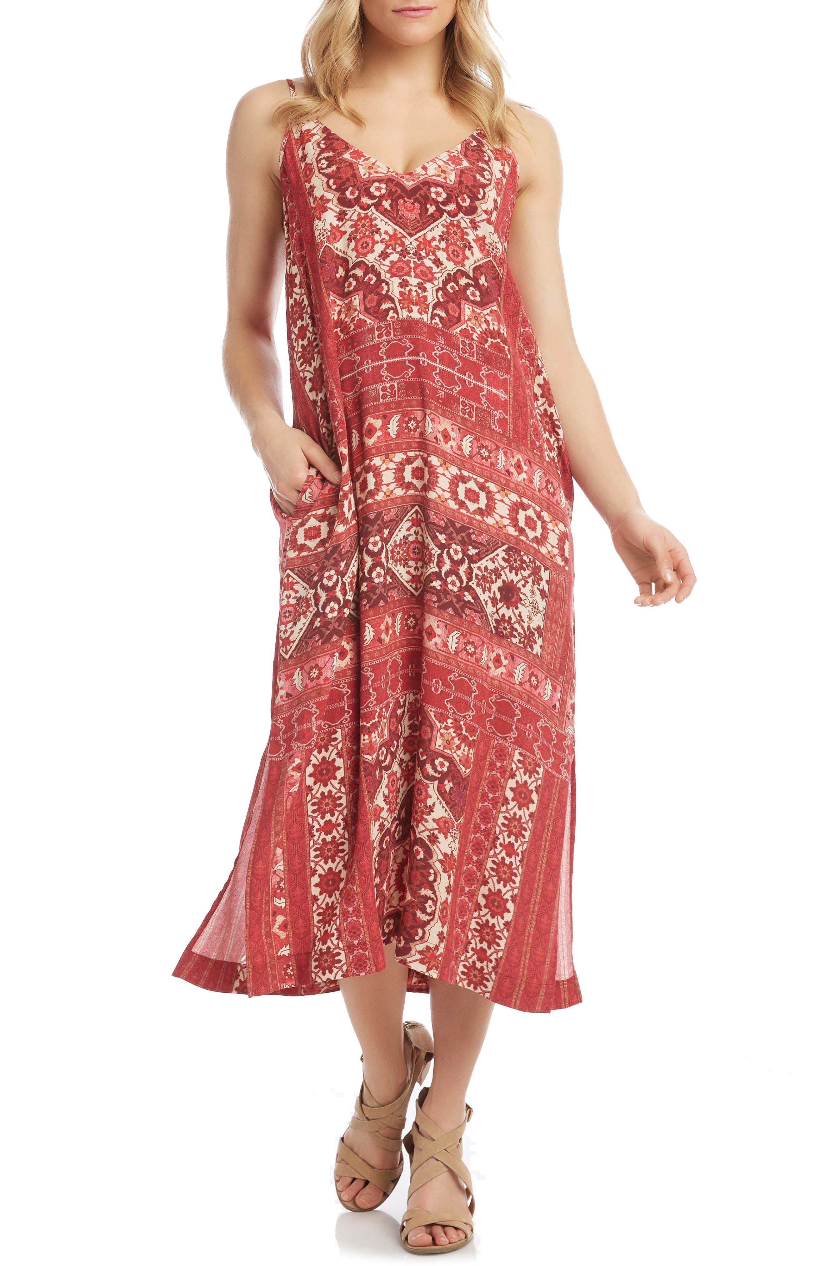 Patchwork Print Side Slit Midi Dress