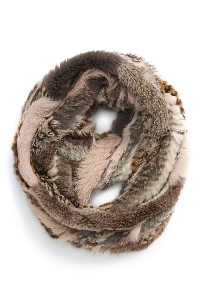 JOCELYN Genuine Rabbit Fur Infinity Scarf, Main, color, 020