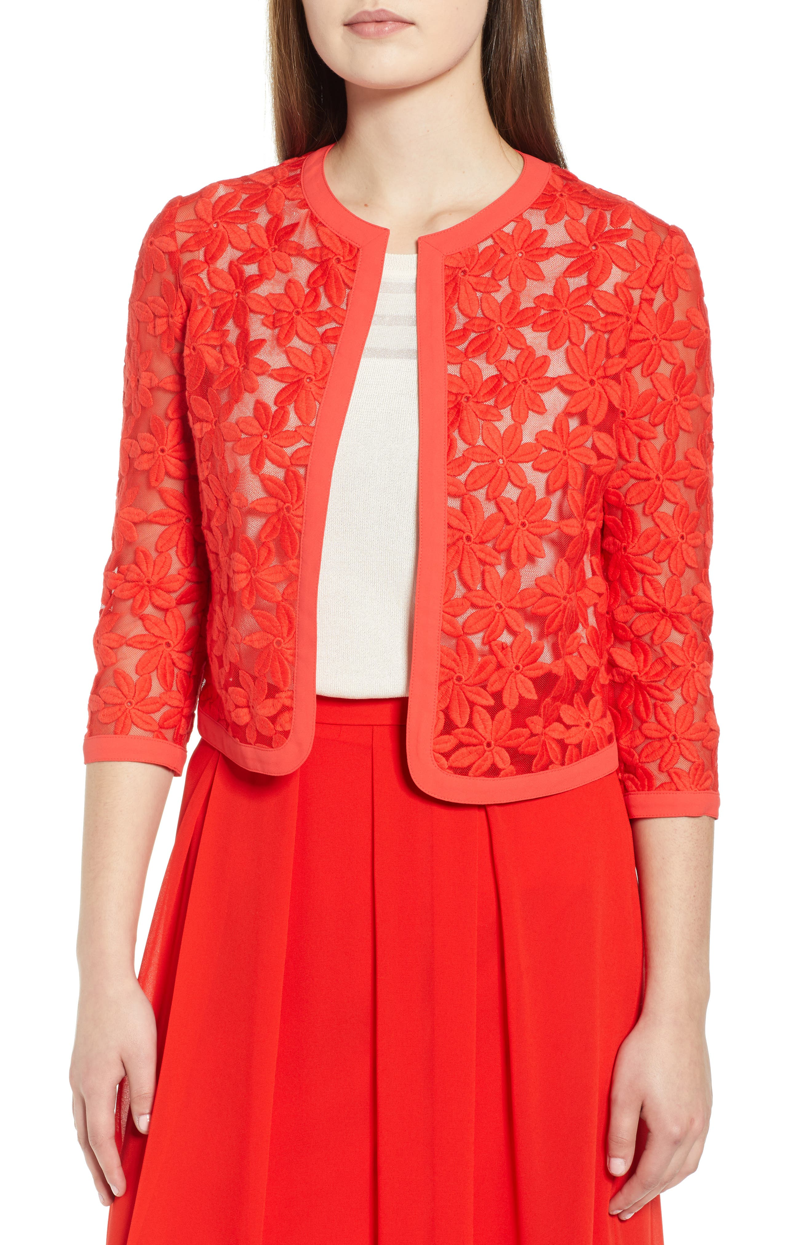 Anne Klein Broderie Lace Cardigan, Red