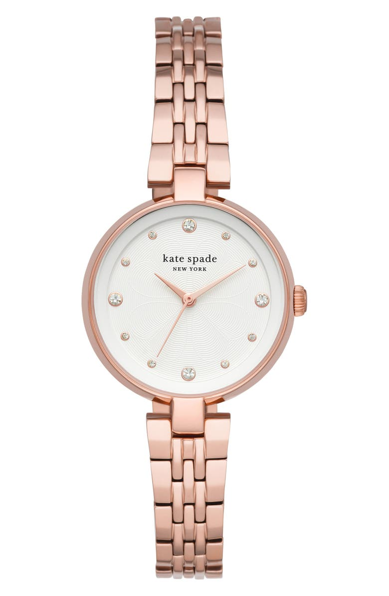 KATE SPADE NEW YORK annadale bracelet watch, 30mm, Main, color, ROSE GOLD/ WHITE/ ROSE GOLD