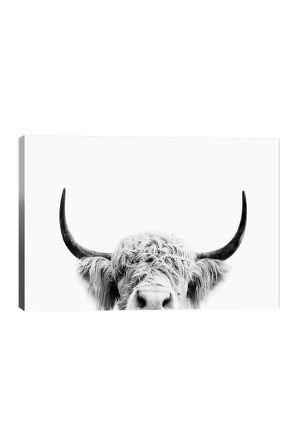 Image of iCanvas Peeking Cow In Black & White by Sisi & Seb
