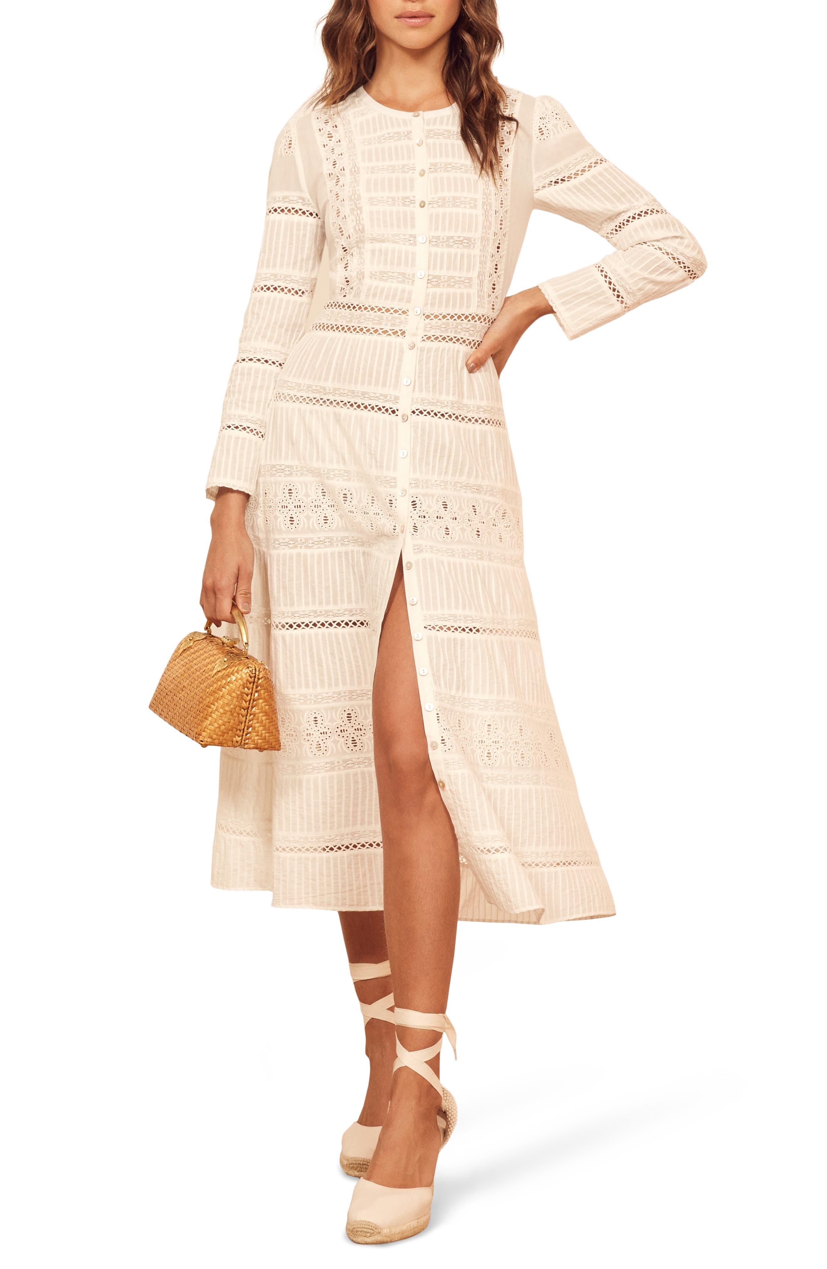 Reformation Elsie Long Sleeve Organic Cotton Dress, Ivory