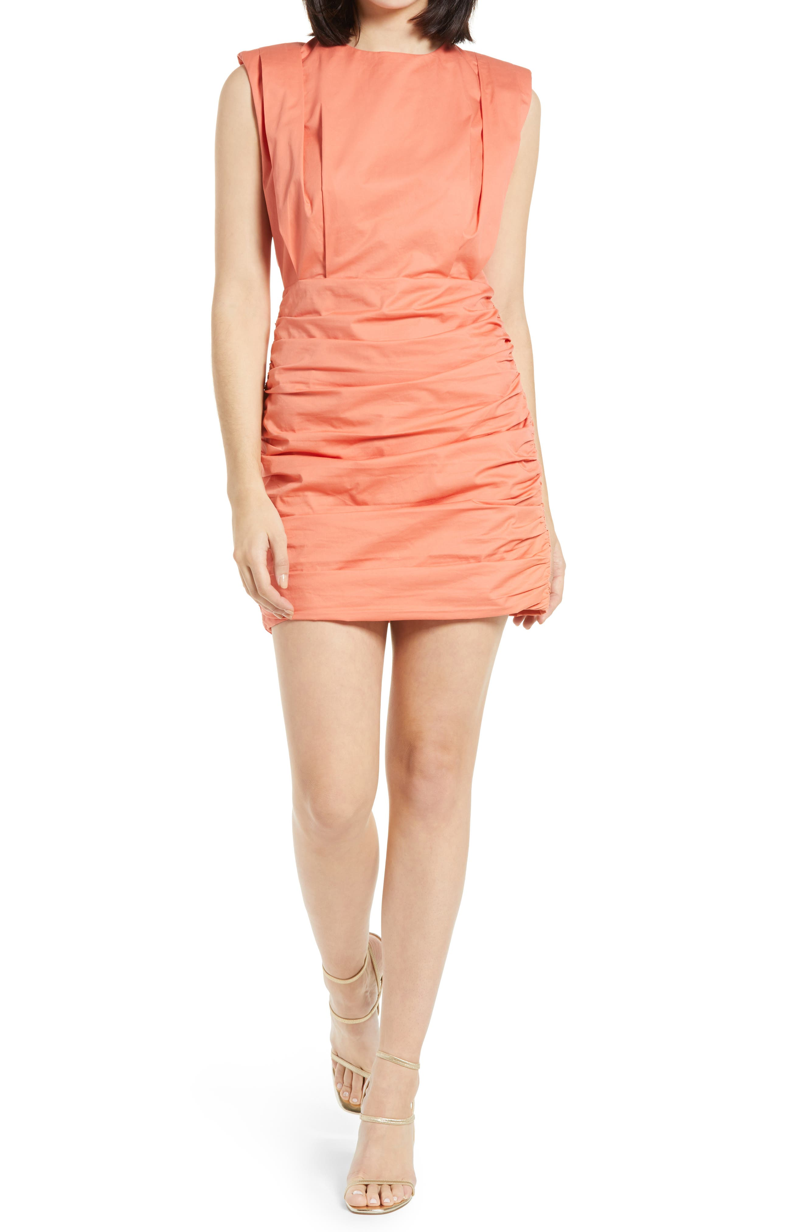 Pleated Shoulder Pad Dress