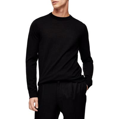 Topman Merino Wool Crewneck Sweater, Black