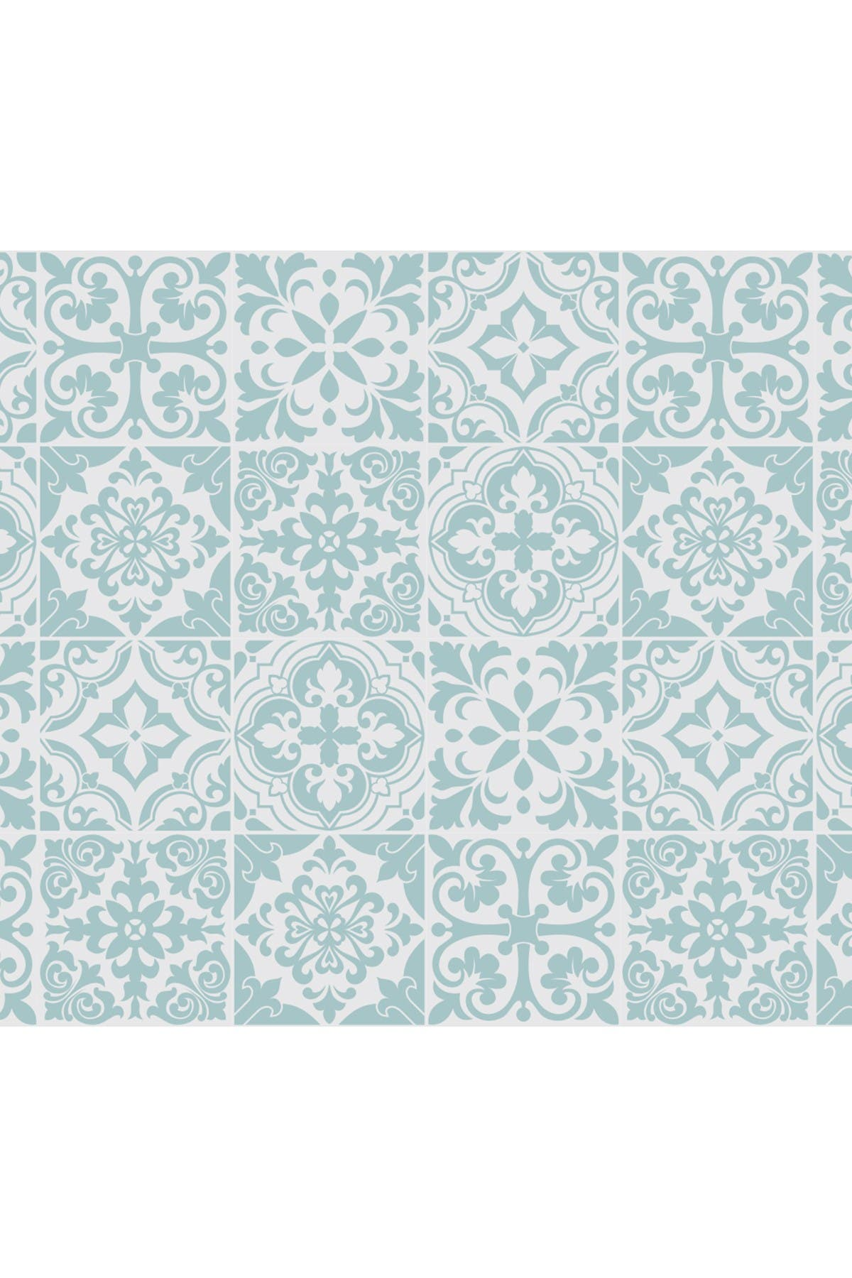 Image of WalPlus Santa Rosa Pistachio - Light Grey Stencil Tiles Wall Stickers - 6 x 6 inches - 24 Pieces