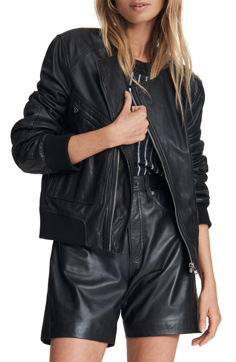 RAG & BONE Leather Flight Bomber Jacket, Main, color, BLACK