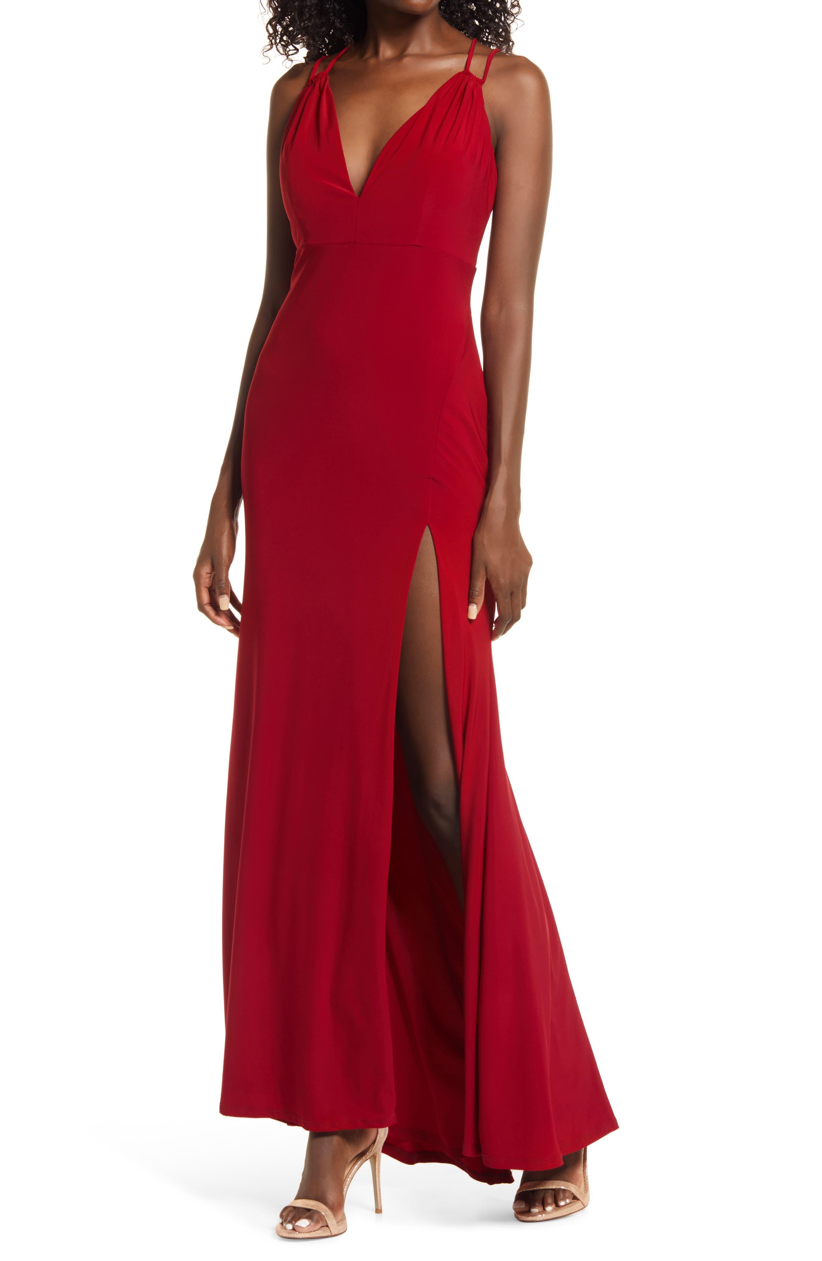 Jump Apparel V-Neck Side Slit Jersey Gown
