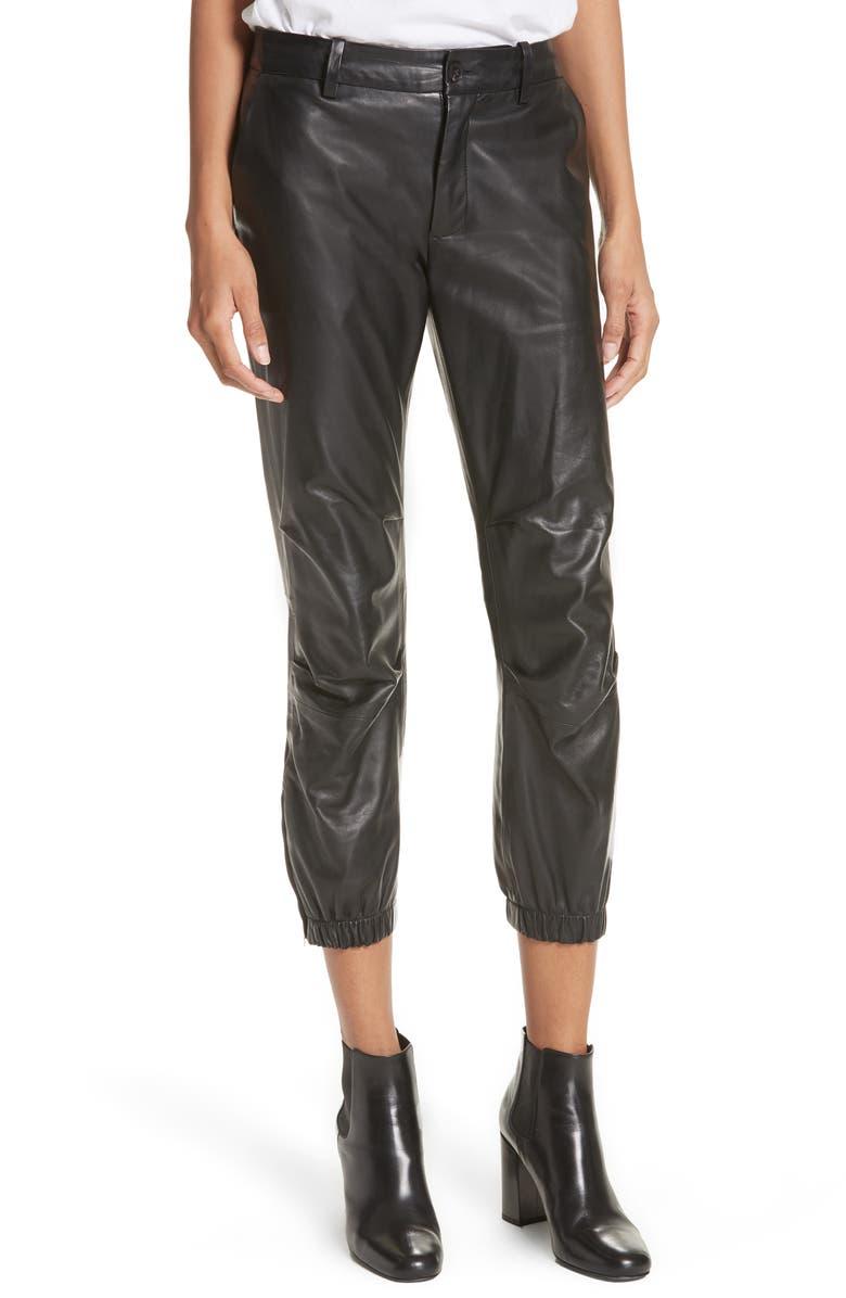 NILI LOTAN French Military Leather Crop Pants, Main, color, BLACK
