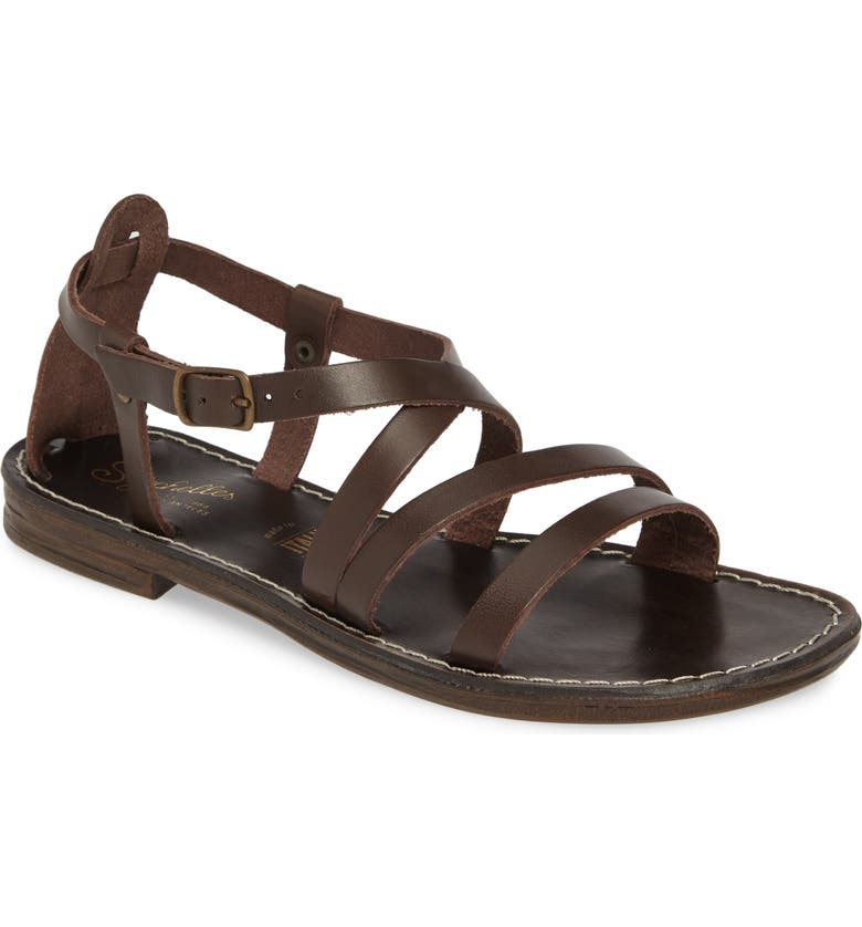 SEYCHELLES Upcycle Strappy Sandal, Main, color, BROWN LEATHER
