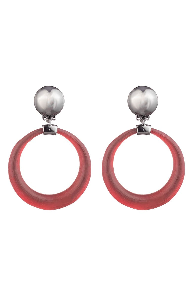 ALEXIS BITTAR Dome Link Clip Earrings, Main, color, WINE RED