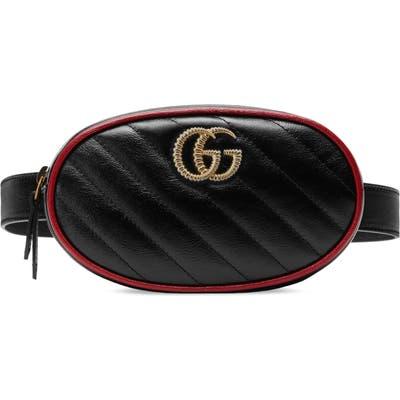 Gucci Gg Marmont Matelasse Leather Belt Bag - Black