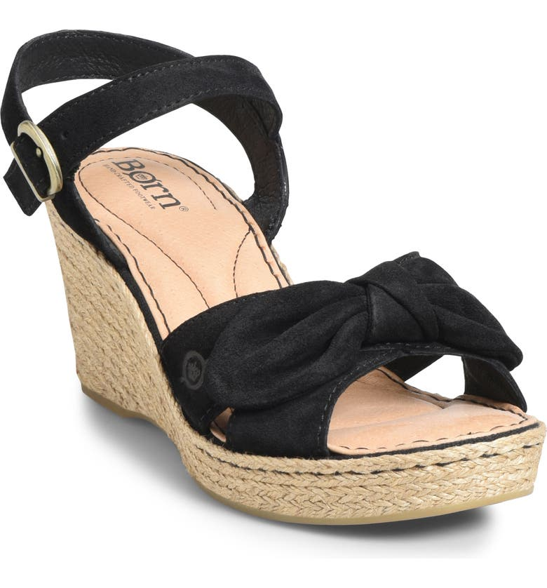 BØRN Monticello Knotted Wedge Sandal, Main, color, BLACK SUEDE