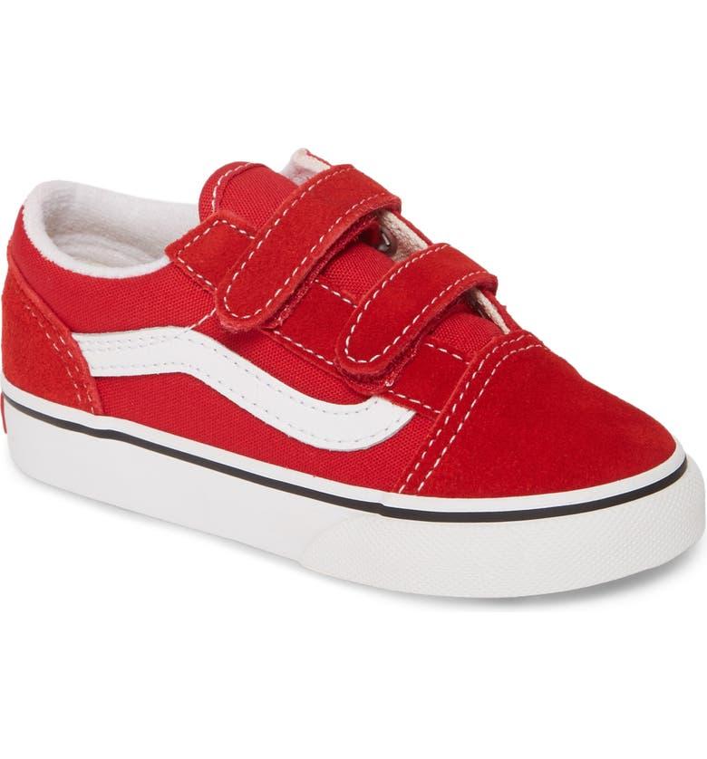 VANS Old Skool V Sneaker, Main, color, RACING RED/ TRUE WHITE
