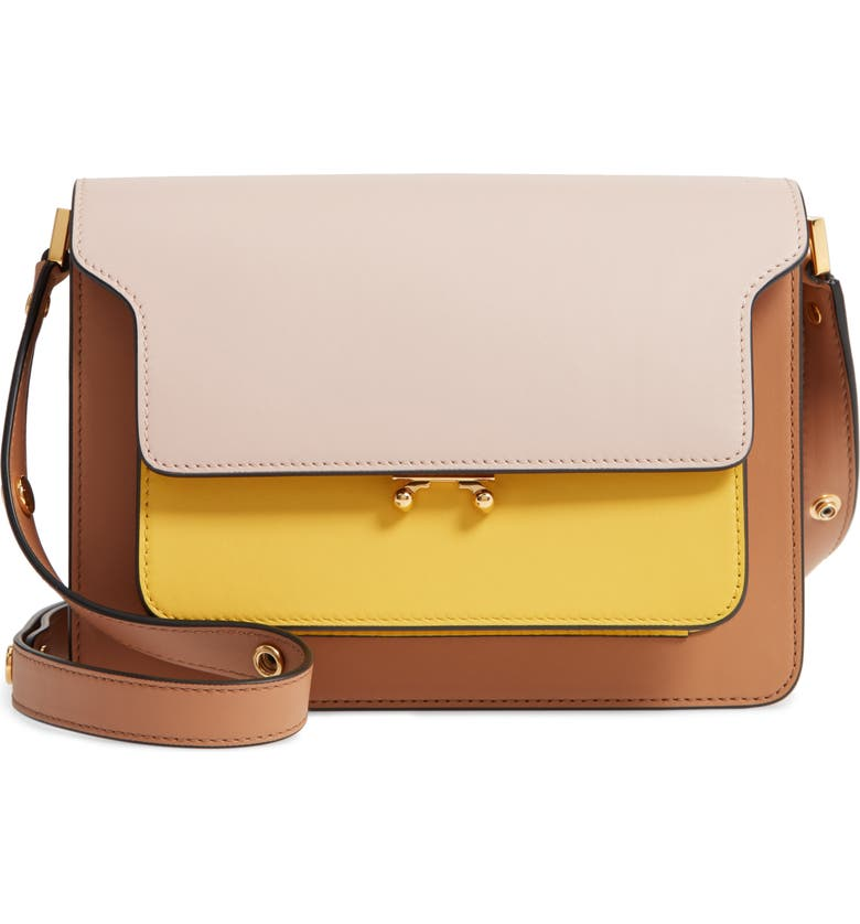 MARNI Trunk Colorblock Leather Shoulder Bag, Main, color, 650