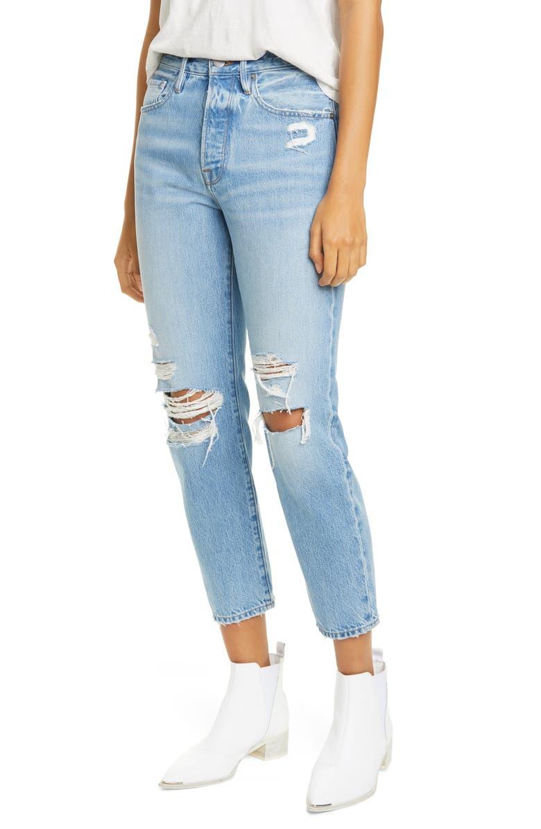 FRAME Le Original Ripped High Waist Ankle Skinny Jeans, Main, color, ZUMA BAY