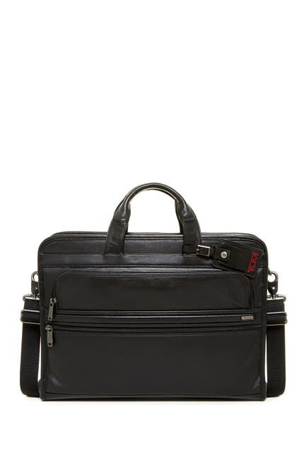 Image of Tumi Alpha Slim Large Screen Computer Portfolio Leather Briefcase