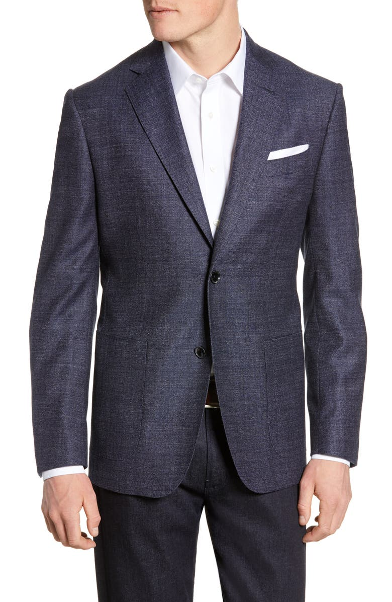 NORDSTROM SIGNATURE Trim Fit Solid Wool Sport Coat, Main, color, NAVY BLAZER WHITE TEXTURE